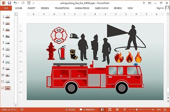 Animated fire brigade powerpoint templates animated extinguishing fire powerpoint template toneelgroepblik Choice Image