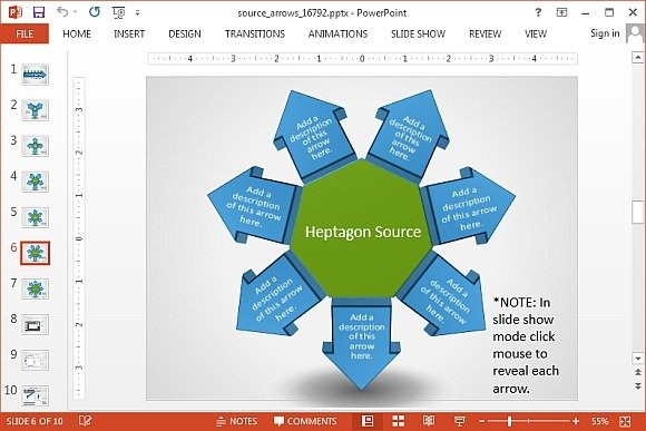 Heptagon arrow diagram for PowerPoint