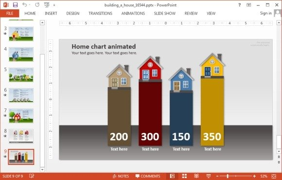 Animated building a house powerpoint template house chart slide toneelgroepblik Choice Image
