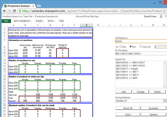 Solver app for Microsoft Excel