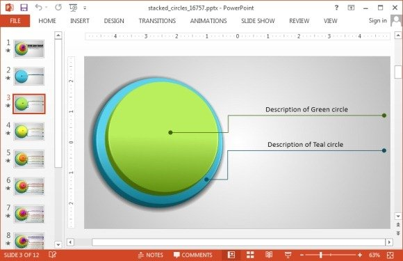 Animated Stacked Circle Diagram For Powerpoint