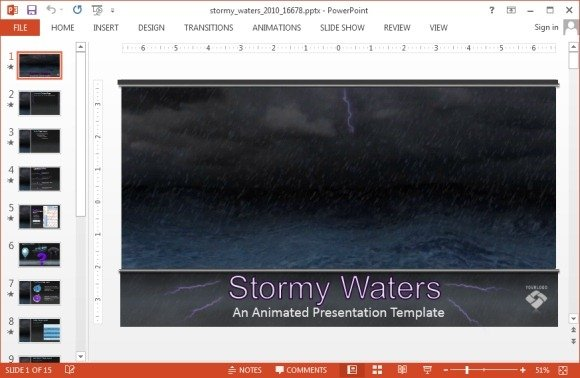 Stormy waters PowerPoint template