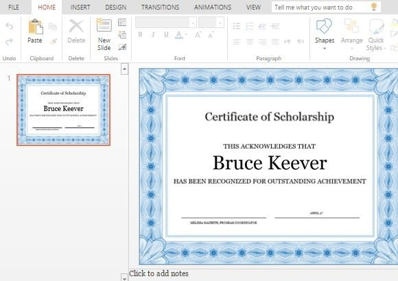 easily customizable scholarship certificate template for powerpoint