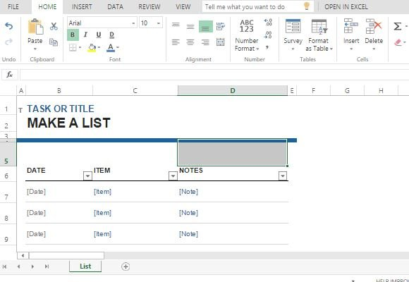 task list maker template for excel