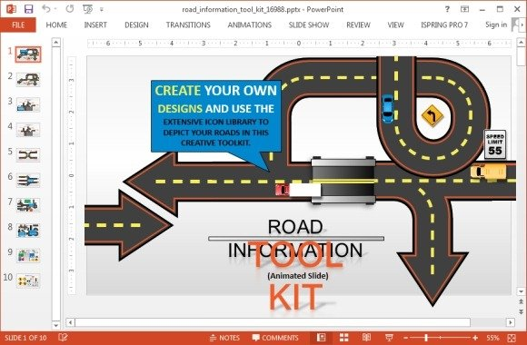 Animated road information toolkit for PowerPoint