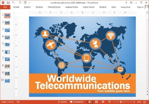 Animated worldwide telecommunications PowerPoint template