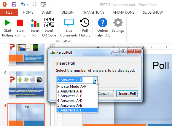 Participoll add-in for PowerPoint