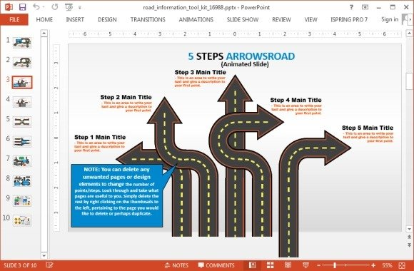 Animated road information toolkit for powerpoint roadmap template for powrpoint 2013 toneelgroepblik Choice Image