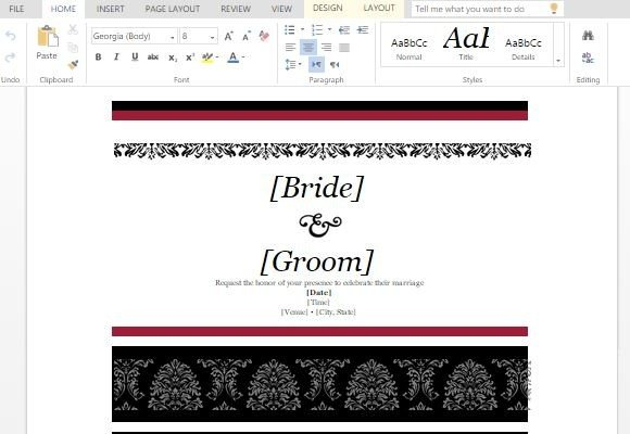 Wedding invitations template for word online stopboris Images