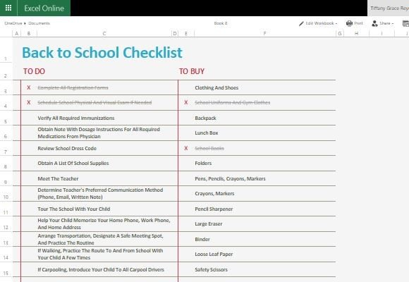 Back To School Checklist Template For Excel