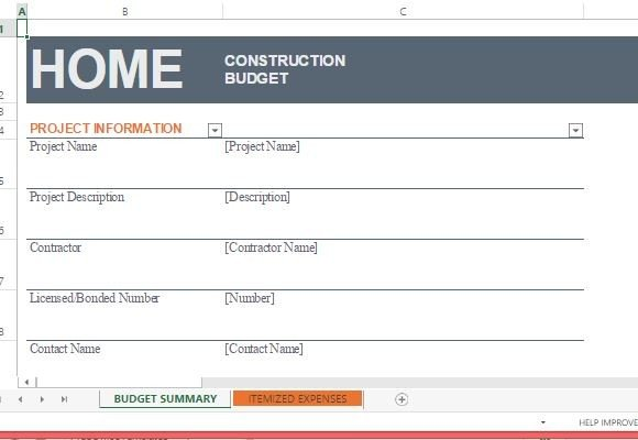 Home construction budget template for excel for Home construction budget template