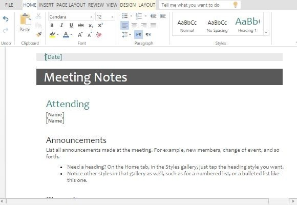 minutes of meeting templates