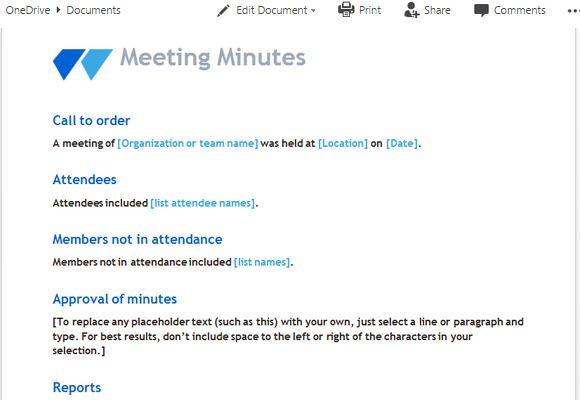 meeting minutes template with clean and modern look
