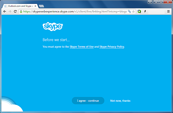 Agree with Skype terms and conditions