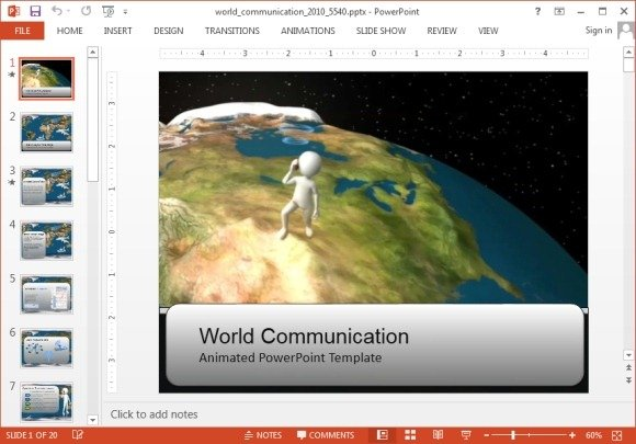 animated world communication powerpoint template
