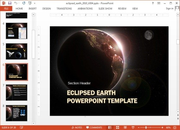 Animated eclipse powerpoint templates eclipsed earth template for powerpoint toneelgroepblik Image collections