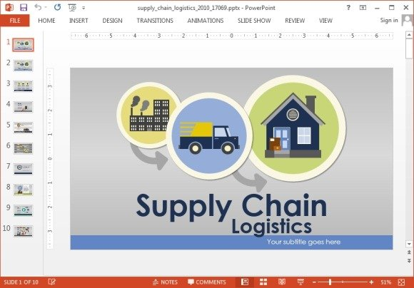 animated supply chain powerpoint template, Modern powerpoint