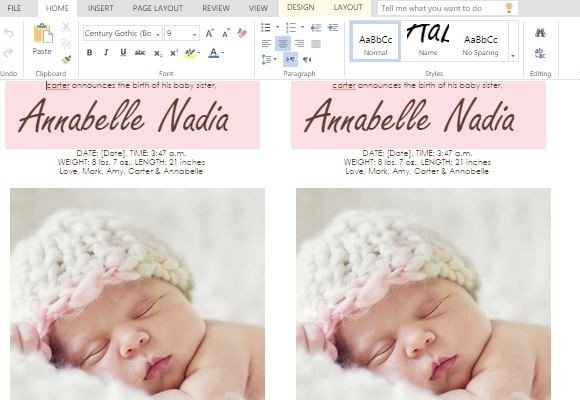 To Make Child Birth Announcement Cards In Word