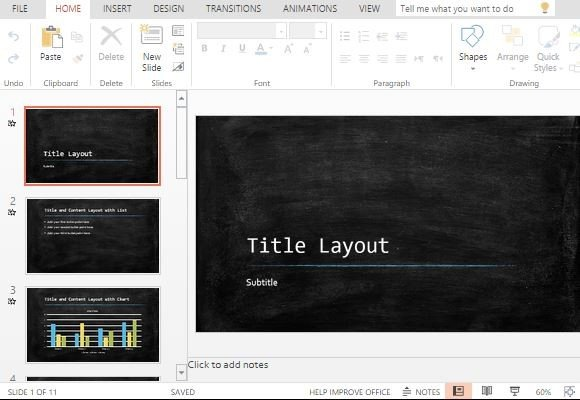 widescreen chalkboard powerpoint template, Powerpoint templates