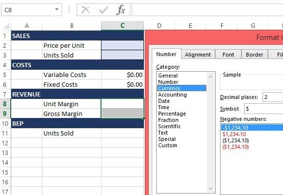 format currency and decimal settings for corresponding cells