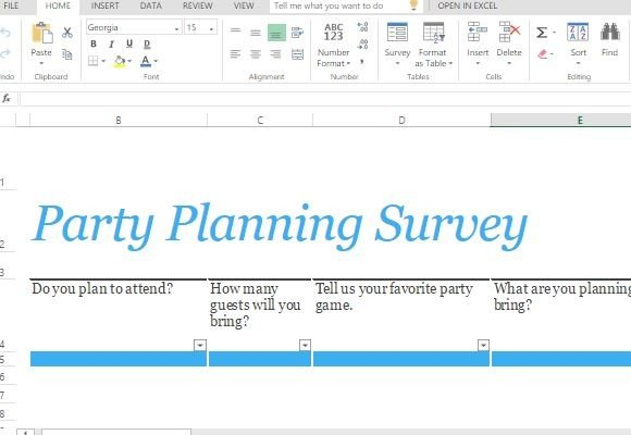 party planning survey form template for excel