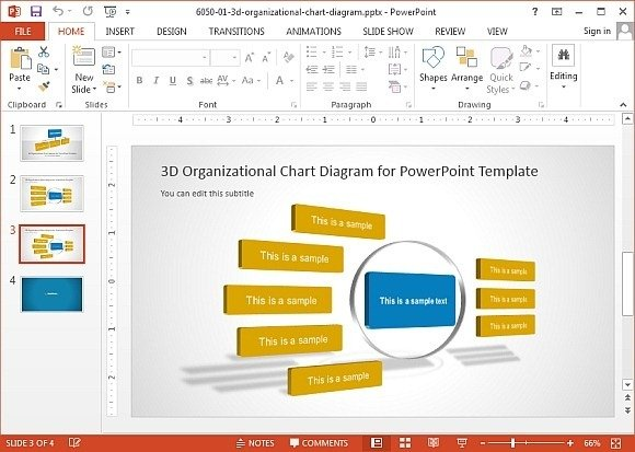 3D organizational chart for PowerPoint