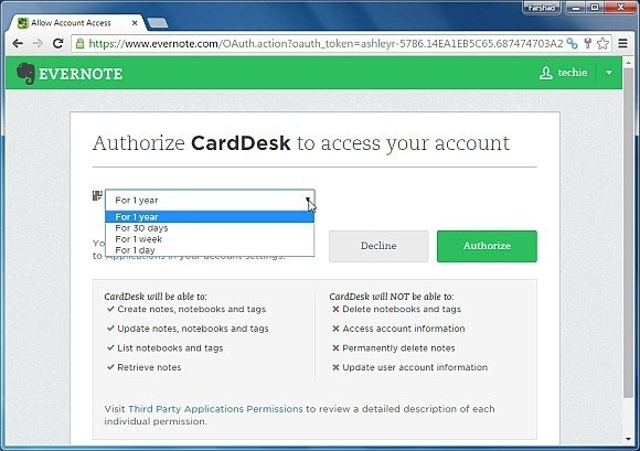 Connect Evernote account with CardDesk