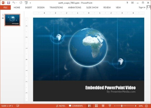 earthscape hd video background template for powerpoint, Modern powerpoint
