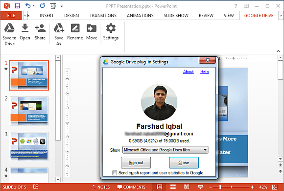Logout of Google Drive from PowerPoint