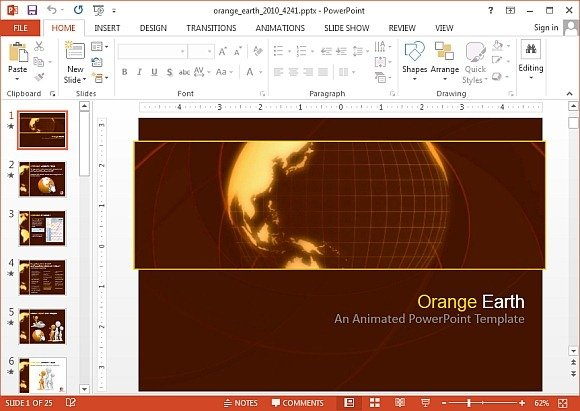 Animated earth powerpoint templates orange earth powerpoint template toneelgroepblik Image collections