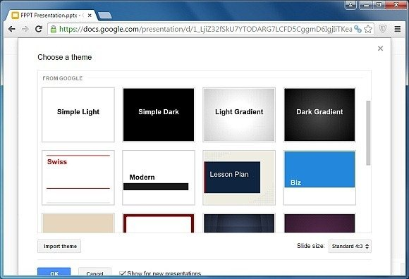 Select Google Slides theme