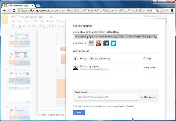 Share Google Slides presentation