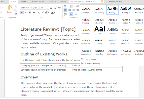 Literature review template for word for Lit review template
