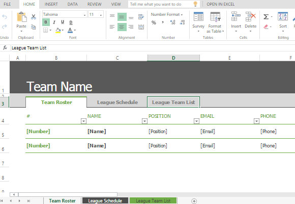 sports roster and schedule template for excel