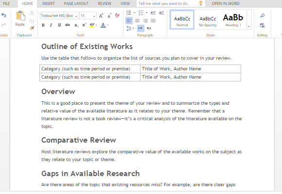 Literature review template for word for Literature review template doc