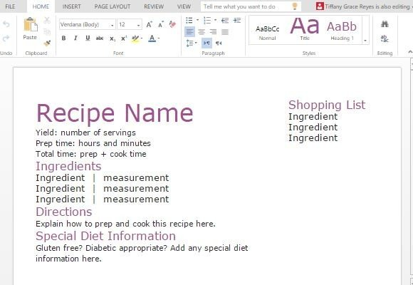 Recipe Template Word | Recipe With Shopping List Template For Word