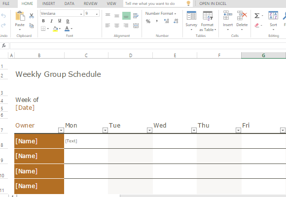 simple and functional group schedule template for any industry or