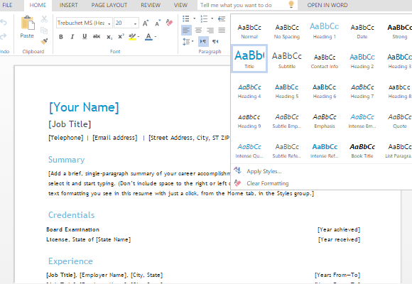 onedrive resume template