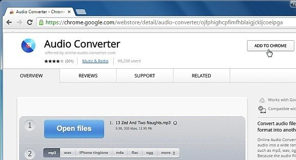Add audio converter app to Chrome