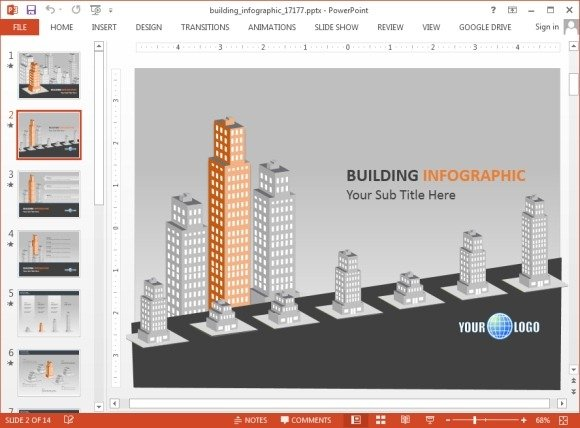 Animated slides with buildings