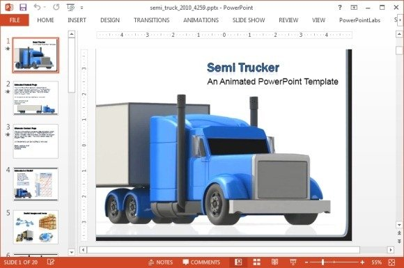 animated freight truck powerpoint template