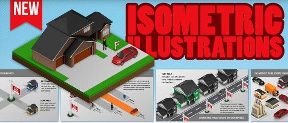 Isometric illustrations and PowerPoint templates