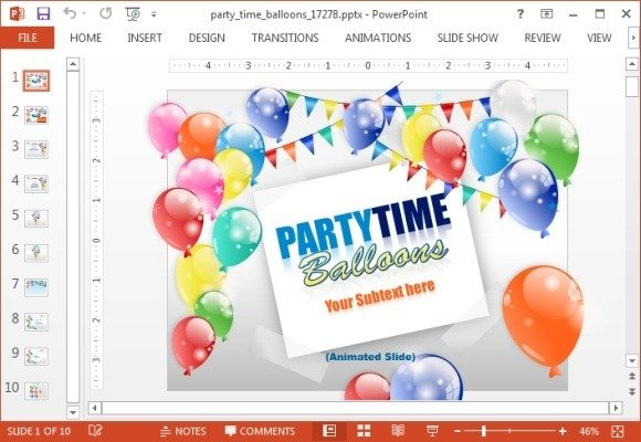 Party time balloons PowerPoint template