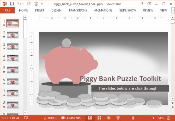 animated piggy bank powerpoint template, Powerpoint templates