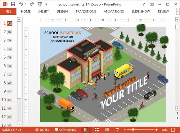 School isometric PowerPoint template