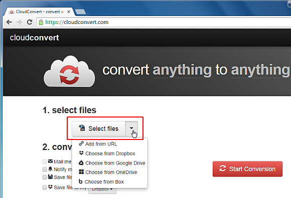 Select a file to convert