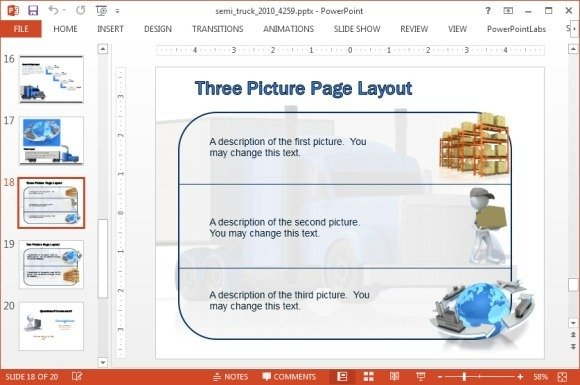 Three picture layout with freight clipart
