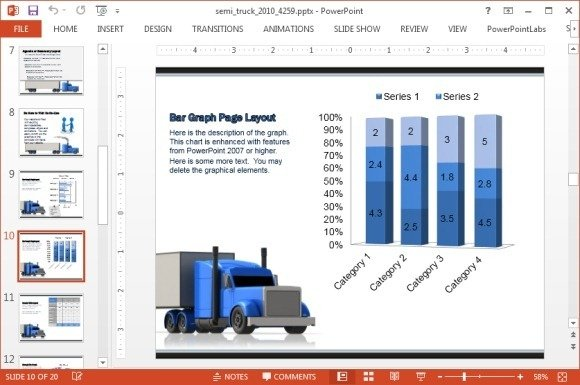 Truck and bar chart
