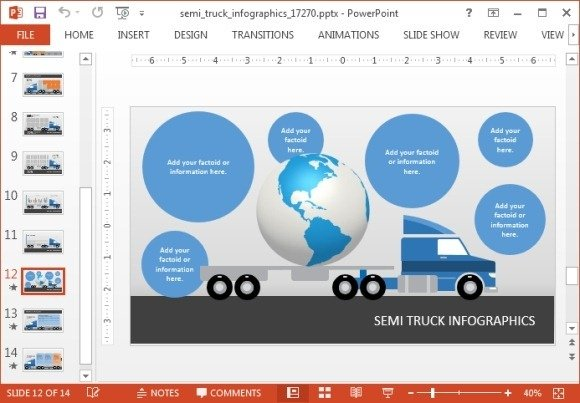 Truck infographic with globe