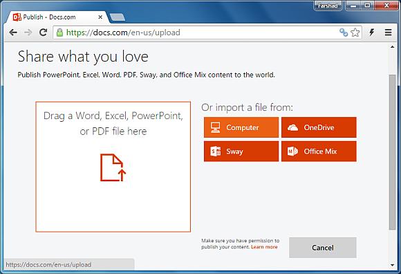 Upload a file to Docs.com web app
